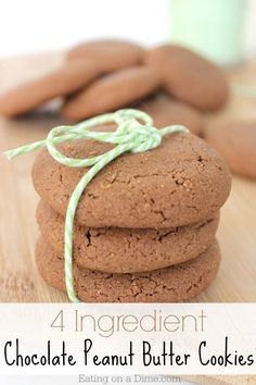 Try these easy 4 Ingredient Chocolate Peanut Butter Cookies today. They are delicious!
