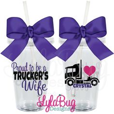 Proud To Be A Trucker's Wife Tumbler LylaBug Designs