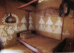 loving these mud hut paintings via http://frommoontomoon.blogspot.com/2012/04/indian-interiors.html
