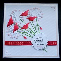 Hand Made Birthday Card using Memory Box Prim Poppy and Chloe die cuts