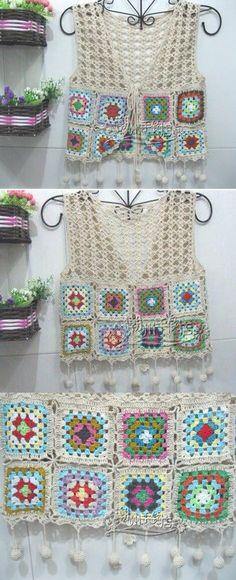 Chaleco tejido a crochet, cuadros