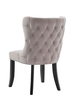 My-furniture/margonia dining chair – button back chair Dressing Table Chair Grey, Pink Dressing Tables, Small Dressing Rooms, Small Dressing Table, Dressing Room Decor, Grey Occasional Chair, Gray Dining Chairs, Dining Room, Accent Chairs