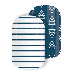 Free Spirit | Jamberry - Straight lines and triangles were never this fun! This blue and white mixed mani is a summer mani and pedi must-have.
