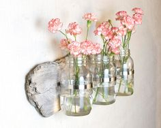 Wall Vase - Large- Driftwood and Mason Jar - Vase Set - Natural, Rustic, Wood. $46.00, via Etsy.