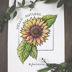Because Autumn is finally here and I'm so excited! Hello to changing colors, cold mornings and pumpkin spice everything! ----- Watercolor + Ink Print on Canvas Paper Signed + by the Artist ( Fall Drawings, Colorful Drawings, Fall Canvas Painting, Diy Painting, Dream Catcher Art, Sunflower Drawing, Art Sketchbook, Watercolor And Ink, Doodle Art