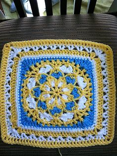 """Velvet and Lace Square (7"""" but adjustable up to 12"""") - free crochet pattern by Priscilla Hewitt. Almost 200 Ravelry projects."""