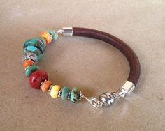 Beaded Leather Bracelet CHIMAYO turquoise by ChickpeaDesignStudio, $45.00