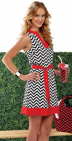 Red and Black Chevron Print Sleeveless Game Day Dress... Something tells me it wouldn't be cute on me, but I love it anyway!
