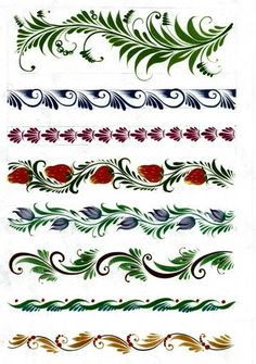 Border ideas or patterns for envelopes etc some are quite intricate but could be simplified Russian Folk Art, Ukrainian Art, Folk Art Flowers, Flower Art, Stencil, Motif Arabesque, Rosemaling Pattern, Norwegian Rosemaling, One Stroke Painting