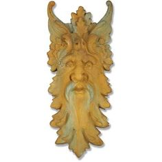 Large green man wall plaque. An excellent piece for outdoor patio or porch area. Designed for outdoor use year-round with several finish choices available