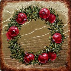 Pomegranate Art, Amazing Drawings, Crochet Flowers, Flower Art, Easy Crafts, Decoupage, Christmas Wreaths, Floral Wreath, Canvas Art