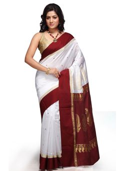 Maroon and Off White Art Silk Jacquard Saree with Blouse: SSPA126