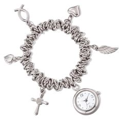 Silvertone stretch bracelet adorned with symbolic charms of light and love. Charms are a clock, a cross, a heart, an ichthys (religious fish symbol), and an angel wing. Clock charm can be used as a functioning watch. Regularly $29.99, buy Avon Jewelry online at http://eseagren.avonrepresentative.com
