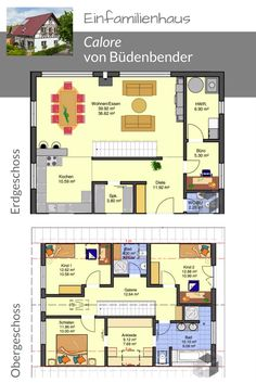 Floor plan for a single-family home in Büdenbender ➤ Find more floor plans . Floor plan for a single-family home in Büdenbender ➤ Find more floor plans . Town Country Haus, 3 Bedroom Floor Plan, Roof Ceiling, Gable Roof, House Roof, Home Design Plans, House Layouts, House Floor Plans, Detached House