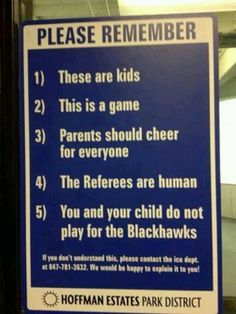 Hockey rink sign posted