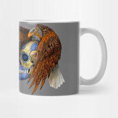 indian native Eagle sugar Skull Mug #teepublic #mug #travelmug #skull #skeleton #dayofthedead #diasdemuertos #jack #skellingtons #halloween #scarythenight #before #christmas #animal #bone #tattoo #hippie #hipster #aztec #maya #indian #feather #bird #butterfly #mexico #mexican #hauntedmansion #ghost #monster