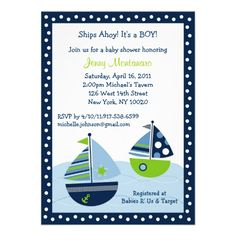 Sailboat Baby Shower Invitations