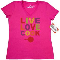Inktastic Live Love Cook Women's V-Neck T-Shirt Laugh Cooking Food Foodie Organic Chef Skillet I Pinkinkartkids Drinks Kitchen Coffee Clothing Apparel Tees Adult, Size: Large, Pink