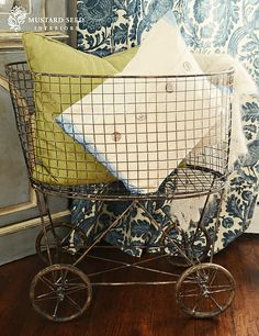 vintage wheeled laundry basket,love this idea just need more space
