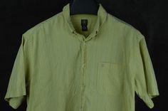 Aigle Mens SS button front shirt cotton green blue striped FREE SHIPPING #Aigle #ButtonFront