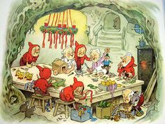 Natal com Fritz Baumgarten, Ilustrador Alemão – - Christmas with Fritz Baumgarten, German Illustrator – Art And Illustration, Christmas Illustration, Christmas Elf, Vintage Christmas, Troll, Old Children's Books, Baumgarten, Elves And Fairies, How To Make Toys