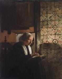 Esaias Boursse (Dutch, 1631-1672) «Old woman doing needlework» Datebefore 1672