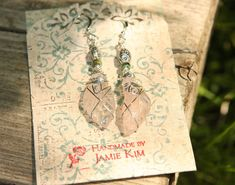 Pure Rose Quartz Carved Leaf Gemstone Earrings by Prettybox4her, $18.50
