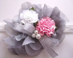 Silver Ribbon Beaded Flowery Stretchy Headband  Size by MyMayaMade, $15.99