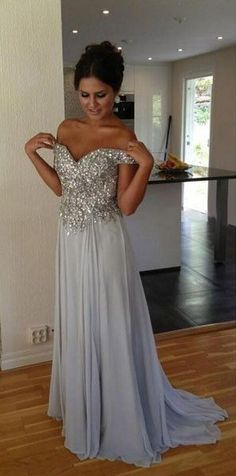 Sexy Sequined Sweetheart A-line Chiffon Prom Dresses
