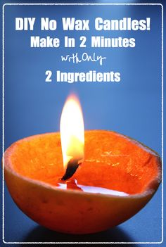 Easy Candles made from only a grapefruit or orange and olive oil, they can burn for 8+ hours!