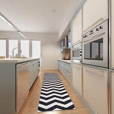 Vysokoodolný kuchynský koberec Webtapetti Optical Black White, 60 x 220 cm