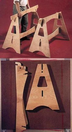 Plans of Woodworking Diy Projects - Knockdown Sawhorses Woodworking Plan, Workshop Jigs Tool Bases Stands Workshop Jigs $2 Shop Plans Get A Lifetime Of Project Ideas & Inspiration! #woodworkdiy Click visit link above for more info