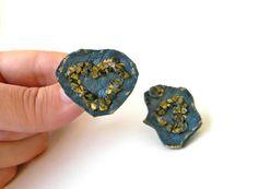 Clip on Earrings Leather Earrings with Pyrite by Elyseeart on Etsy