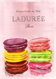 This is an original illustration by Michael Jefferson, created using watercolour and pencil and would be a wonderful gift for macaroon