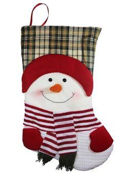 Happy Plush Snowman Christmas Stockings Xmas Stocking Holiday Indoor Decoration  #FestiveSeason
