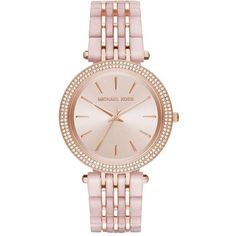 Michael Kors Darci Rose Goldtone Three-Hand Watch ($315) ❤ liked on Polyvore featuring jewelry, watches, apparel & accessories, rose gold, stainless steel wrist watch, bezel watches, michael kors, stainless steel jewellery and michael kors watches