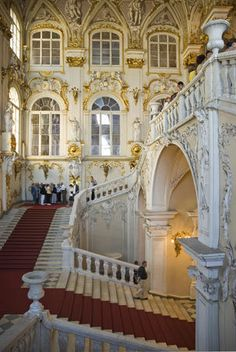 Hermitage Museum, St. Petersburg, Russia.  I could just feel the Czar's coming down this staircase!  Beautiful.