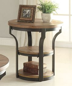 Another great find on #zulily! Oak & Black Geoff End Table #zulilyfinds