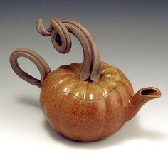 Bauman Stoneware pumpkin teapot