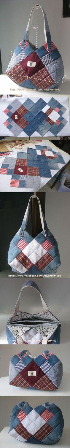 reused Denim Ingeniös use for jean and some prints of c # Patchwork Denim Bag Patterns, Purse Patterns, Sewing Patterns, Fabric Crafts, Sewing Crafts, Sewing Projects, Diy Projects, Patchwork Bags, Quilted Bag