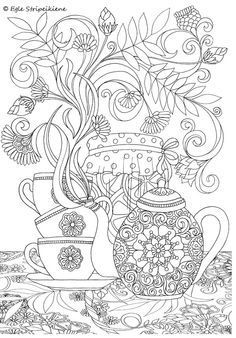 Coloring Page for Adults Tea time by Egle Stripeikiene. Size - A3 Publisher: www.almalittera.lt