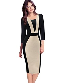 VfEmage Womens Elegant Colorblock Contrast Work Business Casual Pencil Dress 4027 APT 18 *** Read more reviews of the product by visiting the link on the image.