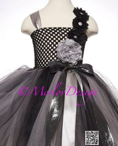 Flower Girl Tutu Dress Silver and Black with Handmade  Flowers, Special Occasion, Birthday, Photos, Holidays,  Empire Waist