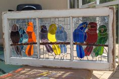 """Repurpose Stained Glass Mosaic Vintage Wooden Window Birds """"The Chit Chat Club"""" Stained Glass Birds, Faux Stained Glass, Stained Glass Projects, Stained Glass Patterns, Mosaic Patterns, Stained Glass Windows, Bird Patterns, Mosaic Ideas, Mosaic Projects"""