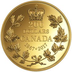 2017 $200 Pure Gold Coin - 150 Years fo Passion: The Maple Leaf 1 Oz Gold Coin, Gold And Silver Coins, Bullion Coins, Gold Bullion, Maple Leaf Gold, Canadian Coins, Gold Money, Mint Gold, Commemorative Coins
