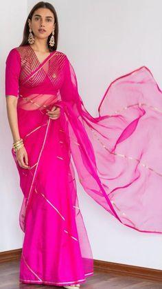 Raw Mango Sarees, Bollywood Songs, Bollywood Actress, Dia Mirza, Drape Sarees, Deepika Padukone, Chanderi Silk Saree, Georgette Sarees, Hot Pink