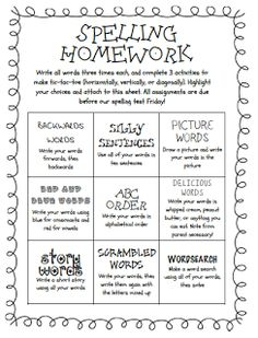 Tic Tac Toe spelling homework is a fun way for students to do ...