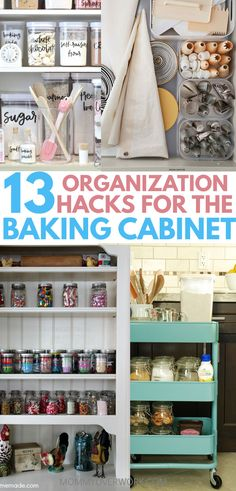 It's tough to keep my kitchen cabinets, pantry, drawers, and cupboards organized with my baking supplies everywhere. These simple DIY baking organization storage ideas were full of great kitchen tips and hacks. The cutting board and cookie sheet one I'm doing right away. Am thinking about the moving baking center and lazy susan for spices and sprinkles. #baking #homeorganization #kitchenorganization #organization #organizationideas #storagesolutions #storage organisation kuchen