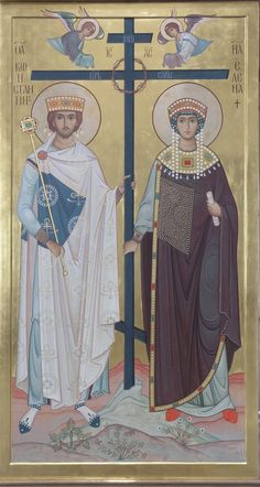 The two Saints here are very much inspired by the figures of Emperor Justinian and his wife Empress Theodora, as depicted in Byzantine mosaics and churches. Religious Images, Religious Icons, Religious Art, Byzantine Icons, Byzantine Art, Byzantine Mosaics, St Constantine, Empire Romain, Russian Icons