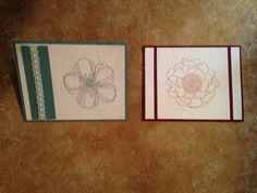 Stamped cards with dryer sheet and fine glitter over the top